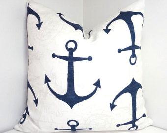 Navy Blue & White Anchor Pillow Cover Navy Blue Anchor Pillow Cover All Sizes