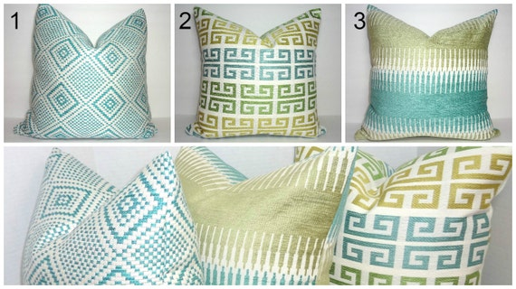 Blue Gold Green Coordinating Pillow Covers Decorative Throw