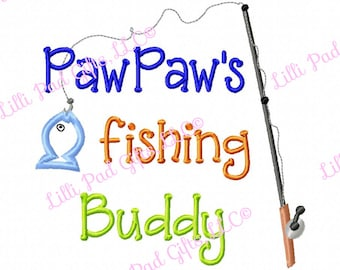 PawPaws fishing Buddy - Applique - Machine Embroidery Design - 6 sizes