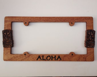 Aloha Tiki Mahogany Wood Hand Carved License Plate Frame