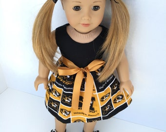 18 inch doll dress made from University of Missouri fabric,  made to fit 18 inch dolls such as American Girl and similar 18 inch dolls