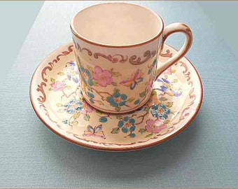 Vintage Crown Staffordshire; Pattern 15663; Set 8 Demitasse Cups & Saucers; Fine Bone China; 1940s; England; Hand Painted