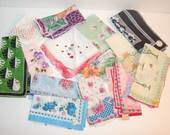 NOS 13 Vintage Hankies Flowers Bright Colors Lovely Lot of Unused Handekerchiefs New with Tags