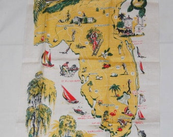 Florida Linen Towel Souvenir State Map Vintage 50's Kitsch Kitchen Deadstock New With Tag