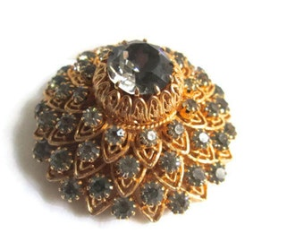 Vintage Vendome Brooch Smokey Rhinestone Dragon Scale 1950s