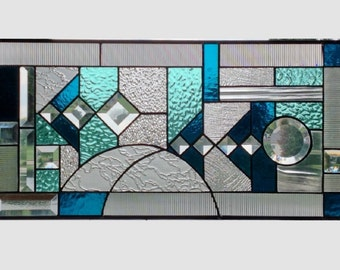 Blue aqua abstract stained glass panel window geometric stained glass window panel window hanging 0160 22 1/4 x 11 1/4