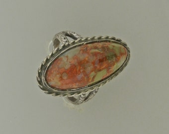 Silver Agate Ring Size 4
