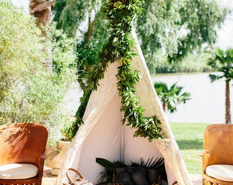 7-8ft 5 sided teepee with your choice of lace or solid front panel