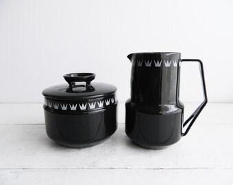 Vintage Danish Dan Kok Glud Marstrand Black Enamel Sugar Bowl & Creamer Midcentury Denmark Mid Century Modern Enamelware