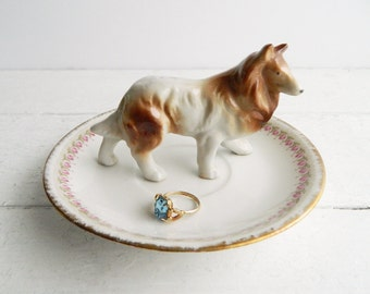 Vintage Collie Dog Ring Dish, Figurine & French Limoges Plate Trinket Holder, Kitschy Saucer Jewelry Display