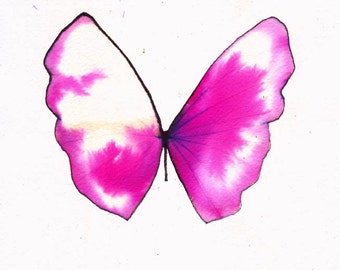 "pink and white butterfly 8 X 10"" original watercolour painting"
