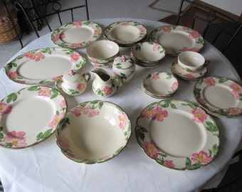 Franciscan Dessert Rose 29 pc set vintage mid century dishes pink rose dish set California made earthenware shabby chic tropical kitchy