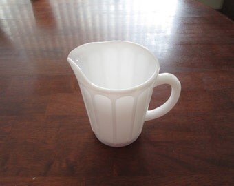 White milk glass pitcher Hazel Atlas small white pitcher kitchen milk glass cream milk pitcher vintage white milk glass
