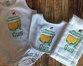 Set of 3 Personalized Burp Cloths - Diaper Cloths - Baby Boy Romper- Monogrammed - Gift Set - Masters - Golf Burp