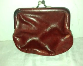 Red Leather Coin Purse 1950's