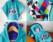 Car Seat Poncho Cape (Teal Lavender Geometric) Reversible Kids Hooded Fleece Poncho Cape with ears
