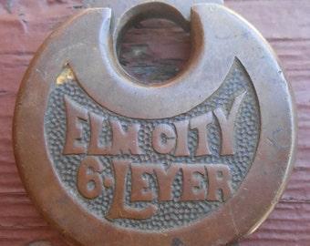 Vintage Elm City 6 Lever Lock Pad Lock Brass No Key