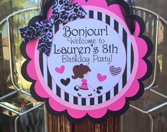 Paris Birthday Party Door Sign in Pinks and Black