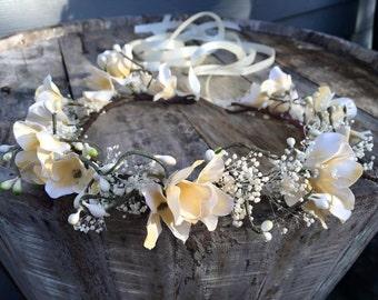 cream  floral crown,tie back,toddler crown,adult crown