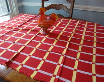 Kitchen Tablecloth Vintage Table Cover Tea Cloth Red French Country