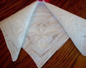 Antique French Hankie White Linen on White Floral Ladies Handkerchief 1910s