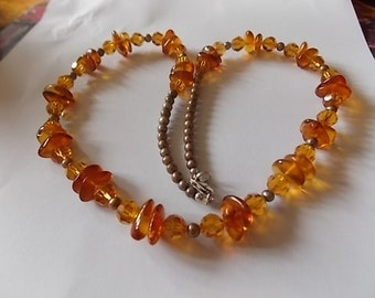 Vintage Amber Silver Cut Glass Necklace UNUSUAL