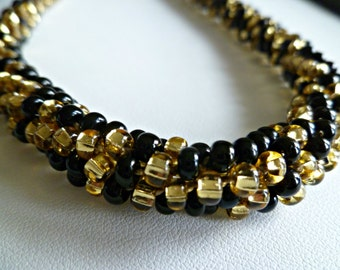"Beaded Kumihimo Necklace ""Hollywood Nights"" elegant bling, versatile magnetic clasp"