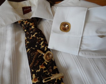 Cufflinks, gilt & amber, vintage, men's jewel, square.