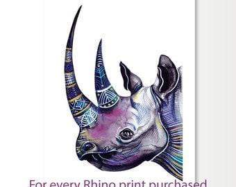 Limited Edition Print of Rhino