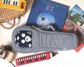 Soprano Ukulele Case - SONG BLUE- Navy blue and white stripes ukulele case. (Ready to ship)