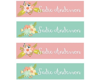 FAST SHIPPING! Clothing Name Tags, Clothing Name Labels, Iron-On, Fabric Name Labels, Fabric Name Tags, School Daycare Camp, Girl, Pink Mint