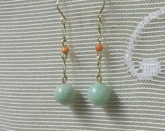 Jade and Coral Gold Pendant Drop Earrings