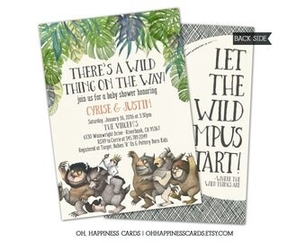 Where the Wild Thing baby shower- printable invitation, printed invitations, Wild Things Shower, Wild Things Invite, Wild Things Theme