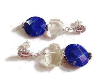 Lapis Lazuli Earrings - Navy Blue Jewelry - Sterling Silver Jewellery - Dangle - Mod - Fashion - Lemon Quartz Gemstone