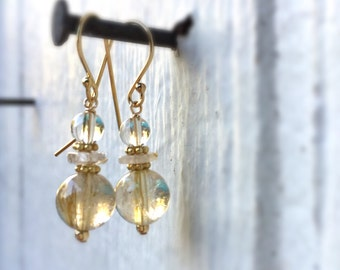 Gold Earrings - Gold Rutilated Quartz Earrings - Gold Jewelry - Gemstone Jewellery - Vogue - Fashion