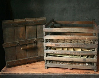Wooden crate, egg crate, vintage farm egg carrier, Humpty Dumpty crate