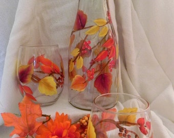 Hand Painted Autumn Wine Carafe with 2 Stemless Wine Glasses