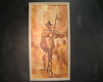 Vintage Signed Framed Acrylic Painting Don Quixote Cervantes