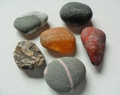 6 medium sized beach pebbles - Lovely English beach find pieces