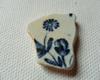 Delicate blue flower sea pottery - Lovely English beach find from Lancashire