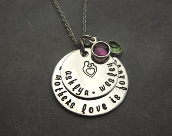 A mothers love, hand stamped stainless steel necklace, personalized, mothers gift, names and birthstones