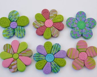 Refrigerator Magnets, polymer clay flower magnets, set of 6