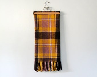 Vintage Faribo Plaid Wool Stadium Blanket - Brown / Taupe / Goldenrod Yellow