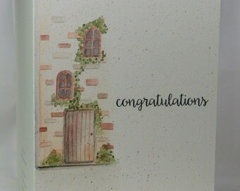 OOAK Handpainted Congratulations House Warming Greeting Card