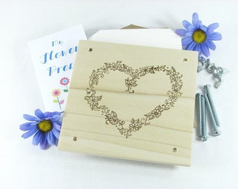 Flower Press - Wood Pyrography - Heart Flower Design Plant Press