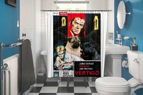 Pug Art Shower Curtain, Dog Shower Curtains, Bathroom Decor - Vertigo Movie Poster by Nobility Dogs