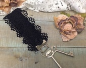 Lace Key fob wristlet, black lace and rosette | KF1 | key chain, accessories, gifts, lanyard