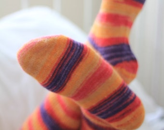 Mohair and Silk Bed socks - Hand Made - Orange and Purple - Knee High