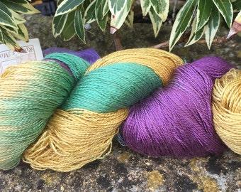 "Laceweight weight silk/baby camel  yarn ""crocus """