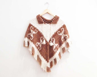 Vintage 1970s Poncho | Brown and White Alpaca Knit 1970s Cape